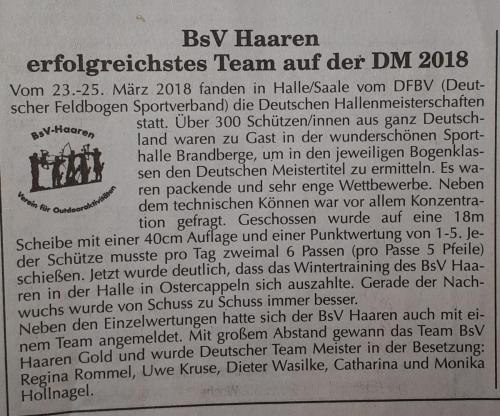 BsV-Haaren Erfolgreichtes Team Deutsche Meisterschaft Halle 2018